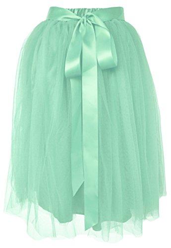 Dancina Women's Knee Length Tutu A Line Layered Tulle Skirt Regular (Size 2-18) Pastel - Mint Looks