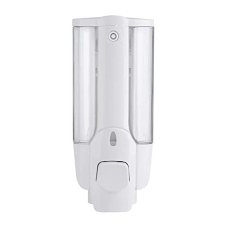 Hemore Manual Solo Botella jabón dispensador loción contenedor Pared plástico Mano líquido champú Ducha Gel dispensador (Blanco)