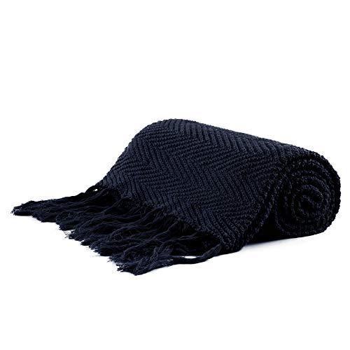 Longhui bedding Fringe Knit Cotton Throw Blanket, 50