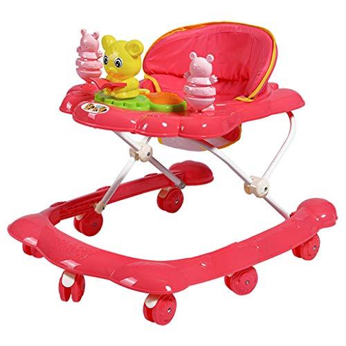 Andador Infantil para Caminar para niños 6/7-18 Meses Anti-vuelco Multifunción Andador Plegable FANJIANI (Color : Red)