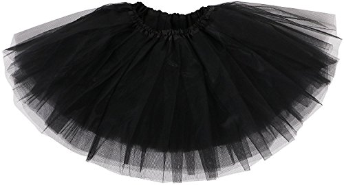 TRADERPLUS Women's Vintage Petticoat Tutu Ballet Bubble Skirt Party Occasion Accessory (Black) ()