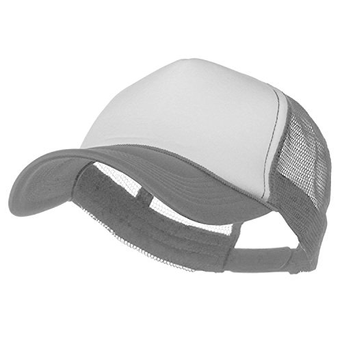 HB Trucker Baseball Cap Summer Foam Hat Adjustable Strap Snapback (One Size, White / Gray)