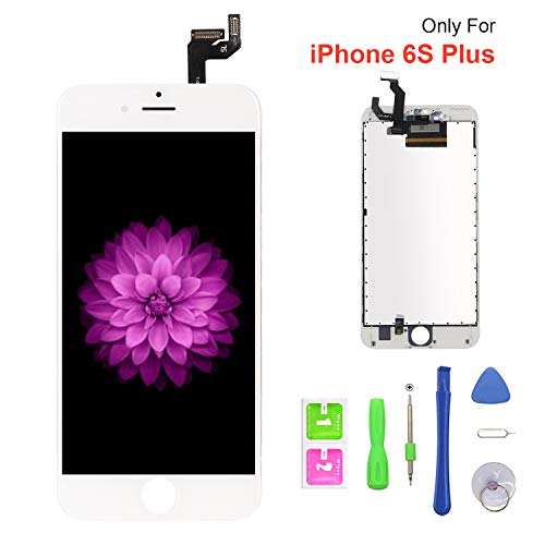 (for iPhone 6S Plus Screen Replacement Repair Kits, LCD Display 3D Touch Screen Digitizer Frame Replacement for iPhone 6s Plus 5.5 inch (White))