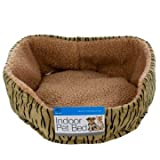 Plush Washable Indoor Pet Bed in Tiger Print for Small Dogs and Cats