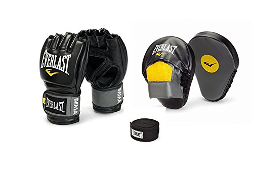 Everlast Pro Style MMA Grappling Gloves + Boxing Mantis Punch Mitts & Professional Hand Wraps (pair)