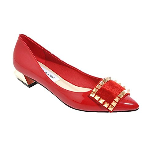 Latasa WomenS Fashion Rivets Studded Faux Patent-leather Pointed-toe Low Chunky Heel Dress Pumps Shoes Red