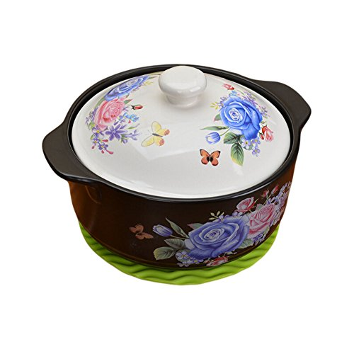 Qingsm High Temperature Flame Ceramics Health Colorful Pattern Casserole (white lid & blue rose)