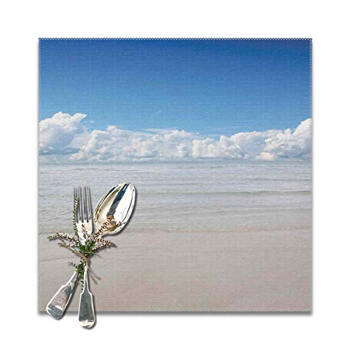 (Placemats for Dining Room Kitchen Table Decor,Magical Sea to Sky View with Clouds Nature Exotic Beach in South Asia Paradise,Washable Easy to Clean Table Mats Non Slip Placemats Set of 6)