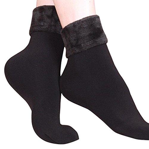Forthery Women Socks, Cute Winter Warm Thick Knit Wool Vintage Casual Crew Socks (Black 2) ()