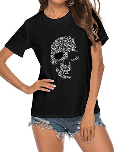 Epuyaito Women Hot Fix Skull Print Pullover Short Sleeve Round Neckline Slim Fit Tee Black