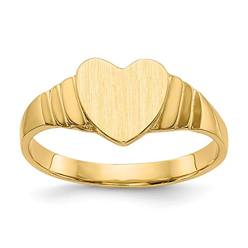 (14k Yellow Gold Baby Heart Signet Band Ring Size 3.50 Fine Jewelry Gifts For Women For Her)