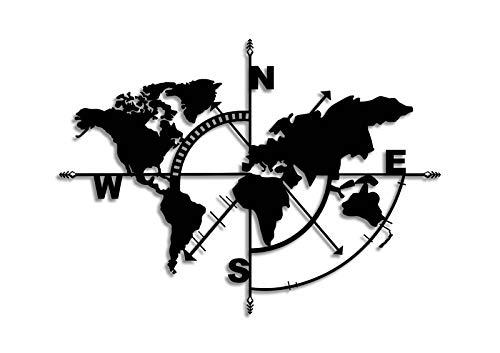 Bekata Décoration murale en métal noir sur le thème de la carte du monde, noir, parfait pour chaque maison, salon…