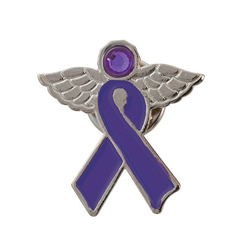 Purple Awareness Ribbon Angel Pins -