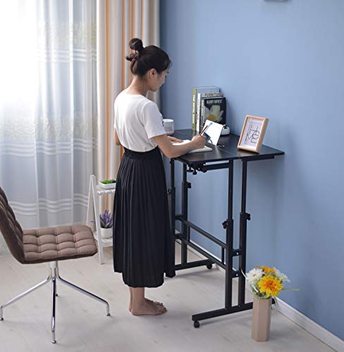 SIDUCAL Mobile Stand Up Desk, Adjustable Laptop Desk with Wheels Storage Desk Home Office Workstation, Rolling Table… 3