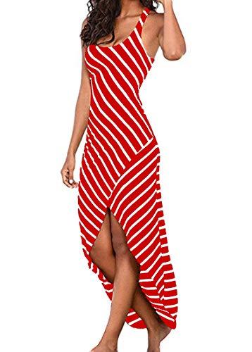 Kancystore Women's Summer High Low Stripe Dress Casual Racerback Tank Maxi Dress (Red, - Tank Striped Racerback Red