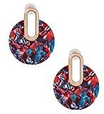 Acrylic Earrings For Women Girls Statement Drop Dangle Earrings Bohemian Hoop Earring Mottled Resin Stud Earrings Fashion Jewelry (Red)