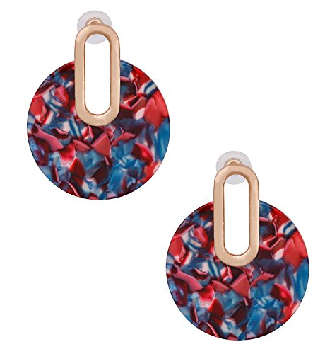 Women Girls Statement Drop Dangle Earrings Bohemian Hoop Earring Mottled Resin Stud Earrings Fashion Jewelry (Red) ()