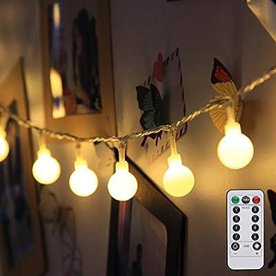 LE LED String Lights, Battery Powered, 16.4ft 50 LED Globe Lights with Timer