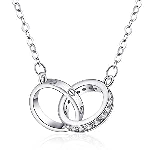 Silver Plated Necklace, Double Ring Pendant Necklace, Ideal Gifts for Wife Girlfriend Women Lover