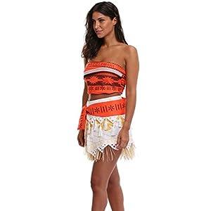 c104e6a92 Goodsaleok Girl Women Moana Cosplay Costume Polynesia Princess Dress Outfit  For Halloween Party