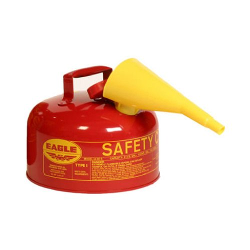 (Eagle UI-20-FS Red Galvanized Steel Type 1 Gasoline Safety Can with Funnel, 2 gallon Capacity, 9.5