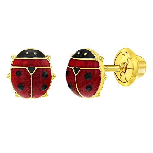 - 14k Yellow Gold Red Enamel Ladybug Earrings Safety Screw Back Girls Children