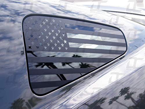 Decal Concepts Flat Black American Flag Rear Quarter Window Accent Decal (Fits Mustang 2010-2014)