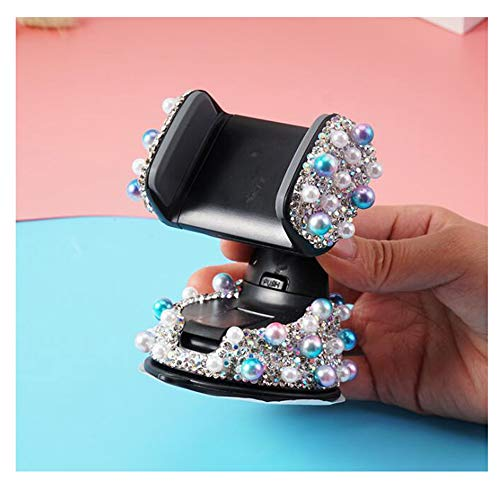 LuckySHD Bling Car Air Vent Phone Mount Dashboard Cell Phone Holder with Crystal Rhinestone Pearl Decor - Blue