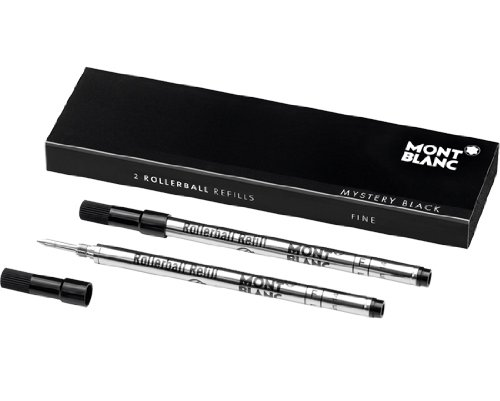 Montblanc Rollerball Refills Medium Point Mystery Black For Montblanc Rollerball/Fineliner Pens Except Meisterstuck LeGrand Rollerball 105158 (1 Pack of 2 refills ) by MONTBLANC