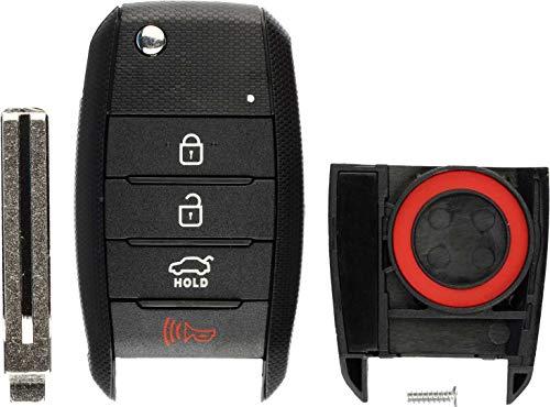 (KeylessOption Keyless Entry Remote Flip Key Fob Shell Case Cover Button Pad for Kia Optima Rio Soul Sportage)