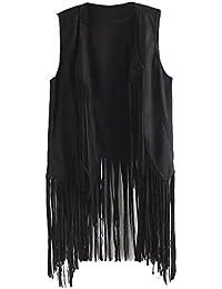 7067a1f6efa65a Women s Fringe Vest Cardigan Faux Suede Tassels 70s Hippie Costume Open  Front Sleeveless Vest Top