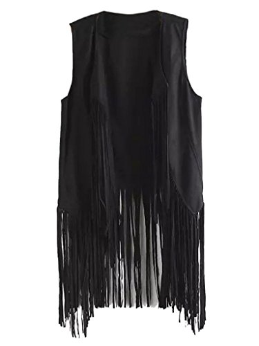 PERSUN Women's Fashion Festival Casual Black Tassel Detail Suedette Waistcoat,Large -