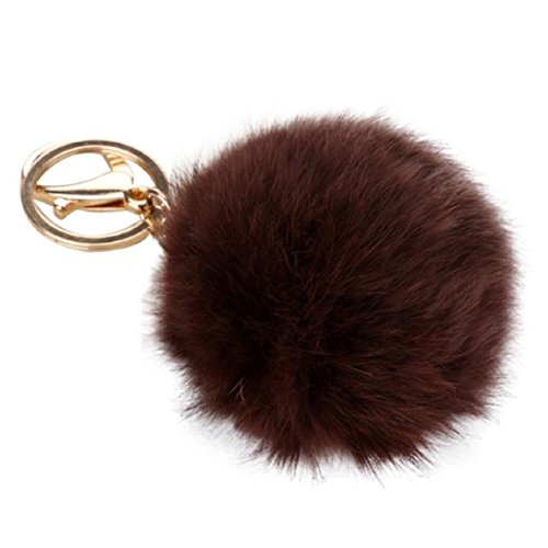 Keychains, Mikey Store Rabbit Fur Ball Keychain Bag Plush Car Key Ring Car Key Pendant (Brown)