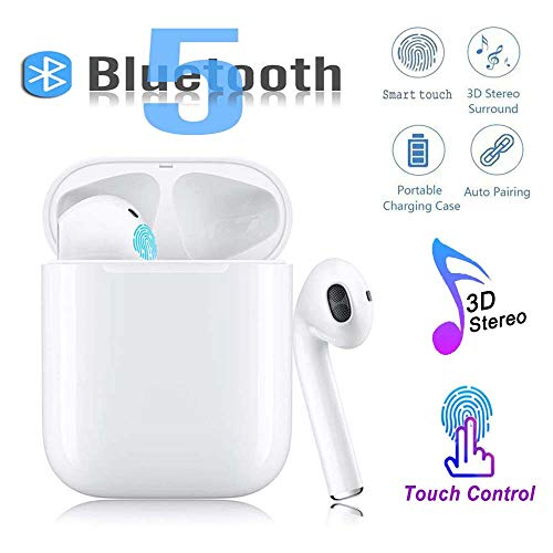Bluetooth 5.0 Wireless Earphone in-Ear Earbuds Hi-Fi Sound Bluetooth Headset with Mini Charging Case 24 Hrs Extended Playtime Pop-Up Pairing for iPhone/Samsung/Apple/Airpods Sports Headphones
