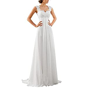 Women's Sleeveless Lace Chiffon Evening Wedding Dresses Bridal Gowns
