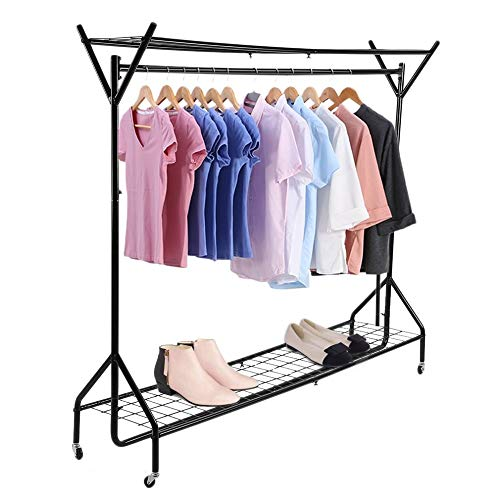 Yuwen 6ft Stable Floor Clothes Hanging Storage Hangers Garment Rail with Shoe Rack Shelf and Hat Display Stand Closet Organizer