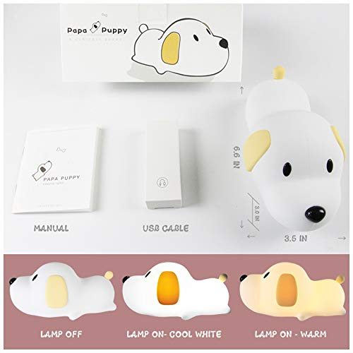 Cute Puppy Dog Nursery Night Light Lamp for Baby Toddlers Kids Children Bedroom Decorations | Soft Silicone Body with Touch Sensor Dual Colors Switch, Timer & Dimmer Function, USB Rechargeable