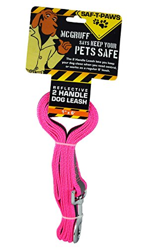 amazon com saf t paws mcgruff large 2 handle reflective dog leash
