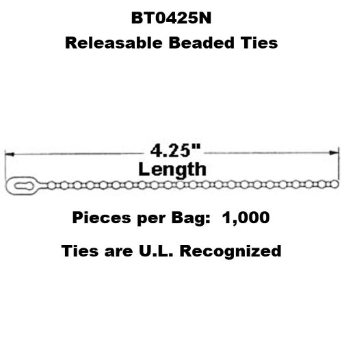 Tach-It BT0425N 4.25'' Releasable Beaded Tie (Pack of 1000)