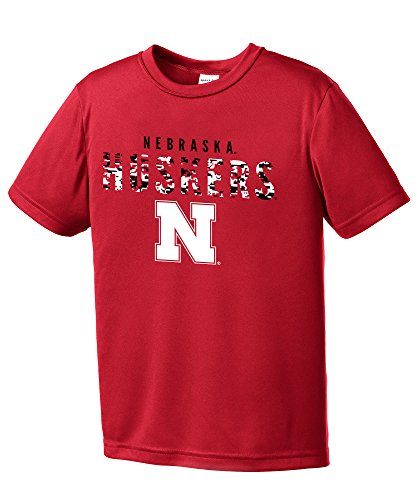 NCAA Youth Boys Digital Camo Mascot Short Sleeve Polyester Competitor T-Shirt, Nebraska Cornhuskers, Red - Youth Large