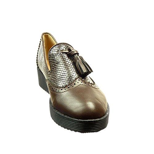Angkorly - Chaussure Mode Mocassin slip-on femme peau de serpent frange pom-pom Talon plat 2.5 CM - Marron