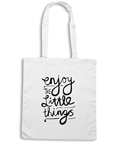 T-Shirtshock - Bolsa para la compra ENJOY0089 Enjoy The Little Things Blanco