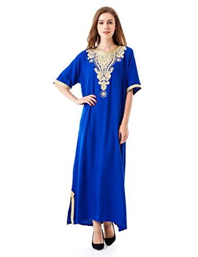 HARiM SOLTANE Muslim Dress Abaya Kaftan Dubai Dress For Women Islamic Clothing Rayon Gown jalabiyas,Medium,Blue-1605 (Best Islamic Clothing Websites)
