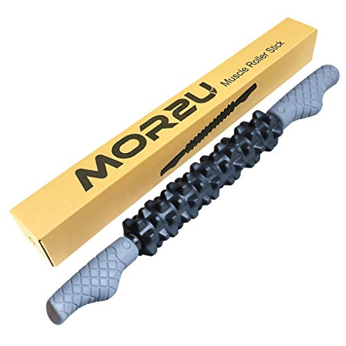 MOR2U Massage Muscle Roller Stick, The Stick Roller Massager, EVA Foam Roller Stick for Runners/Athletes, Body Rolling Stick with Soft Spikes for Reducing Back Leg Calf Muscle Soreness (21 inches)