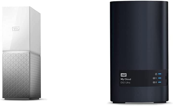 WD 8TB My Cloud Home Personal Cloud, Network Attached Storage - NAS - WDBVXC0080HWT-NESN & Diskless My Cloud EX2 Ultra Network Attached Storage - NAS - BVBZ0000NCH-NESN