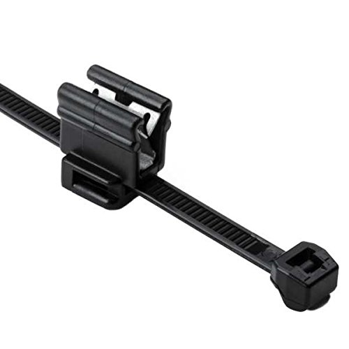 Hellermann Tyton 156-00861 Cable Tie and Edge Clip, 8.0' Length, EC4B, Outside Serrrated, PA66HS, Black (Pack of 500) 8.0 Length