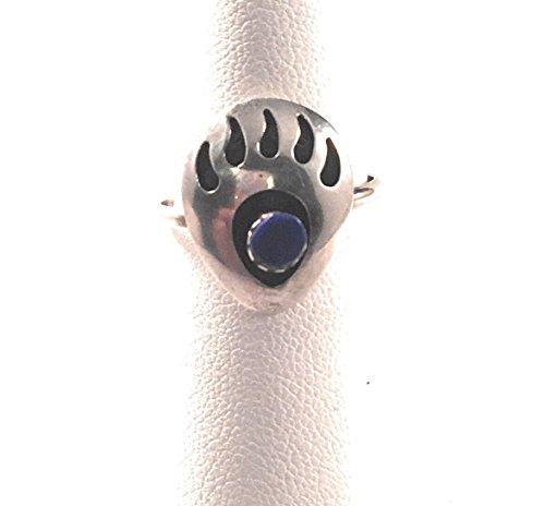 Vintage Navajo Lapis Sterling Silver Bear Paw Ring Size 6.5