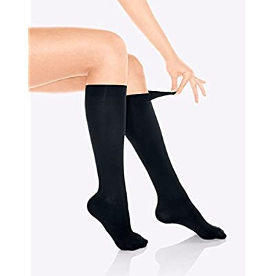 Women's Trouser Socks, Opaque Stretchy Nylon Knee High, Black, 6 Pairs at Women's Clothing store