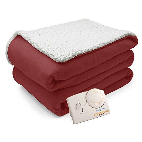 Pure Warmth Comfort Knit Natural Sherpa Electric Heated Blanket Full Brick