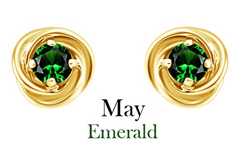 Round Cut Simulated Green Emerald Love Knot Stud Earrings In 14K Yellow Gold Over Sterling Silver 14k Yellow Gold Knot Earrings